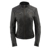 Women's stand up collar racer jacket with rivet details - HighwayLeather