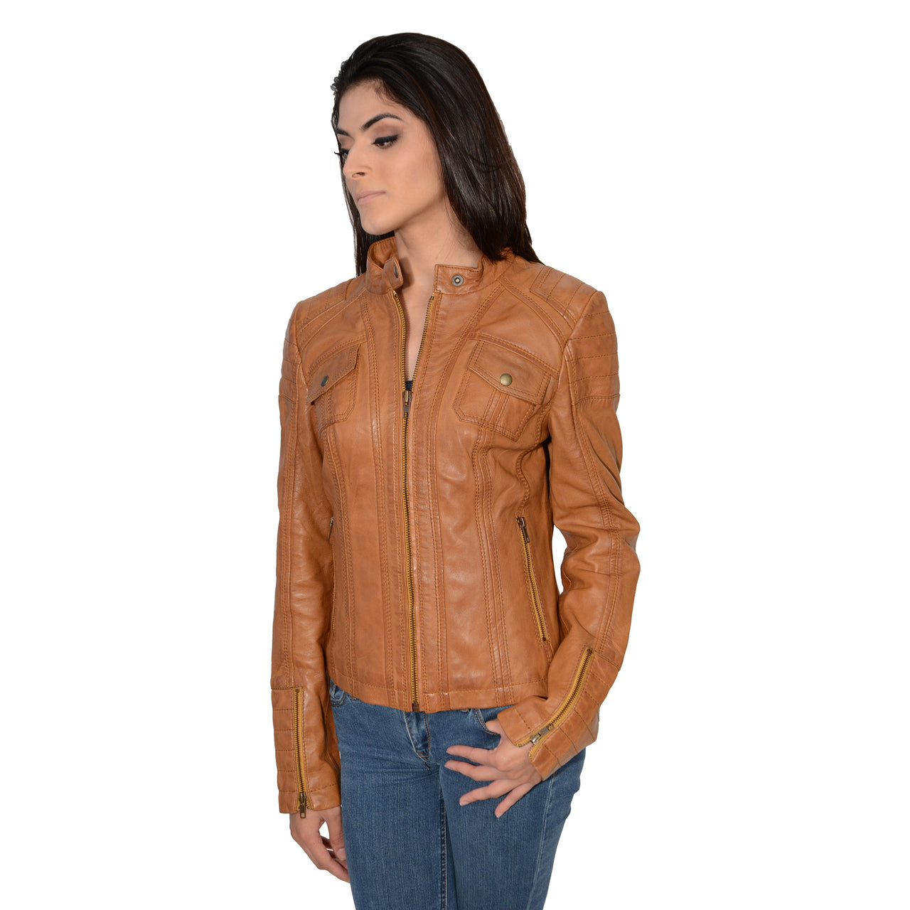 Ladies mandarin scuba collar jacket with quilted shoulders and cuff. - HighwayLeather