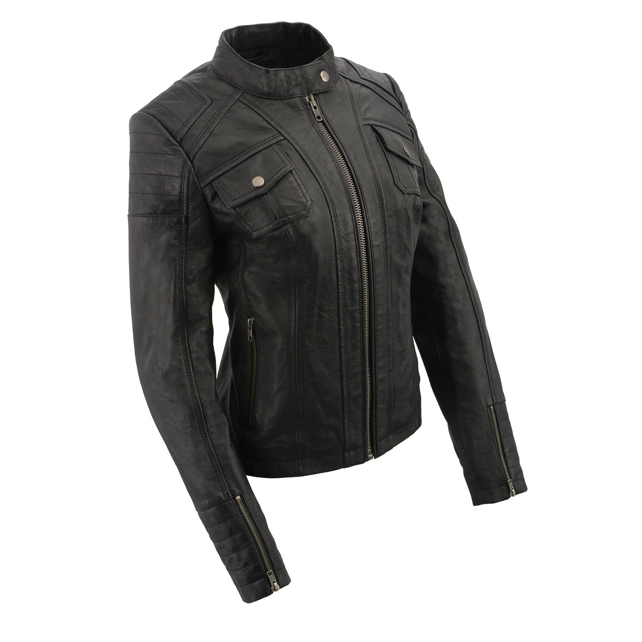 Women's mandarin scuba collar jacket with quilted shoulders and cuff. - HighwayLeather