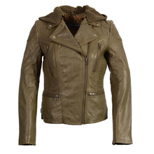 Ladies m/c look with asymmetrical zipper and zip off - HighwayLeather
