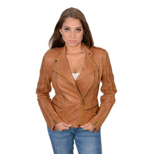 Ladies m/c look double side set buckles jacket with quilting. - HighwayLeather