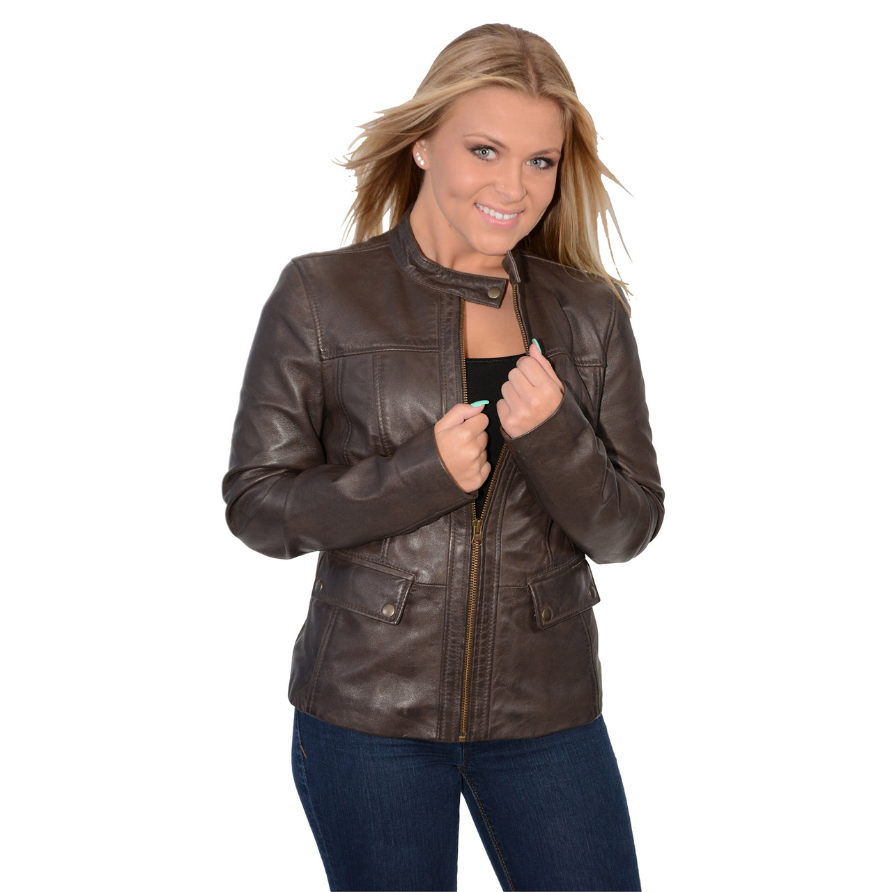 Ladies snap collar scuba jacket with patch pockets - HighwayLeather