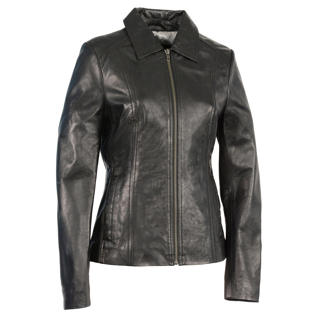 Woman's Zipper Front Scuba Jacket w/ Shirt Collar - HighwayLeather