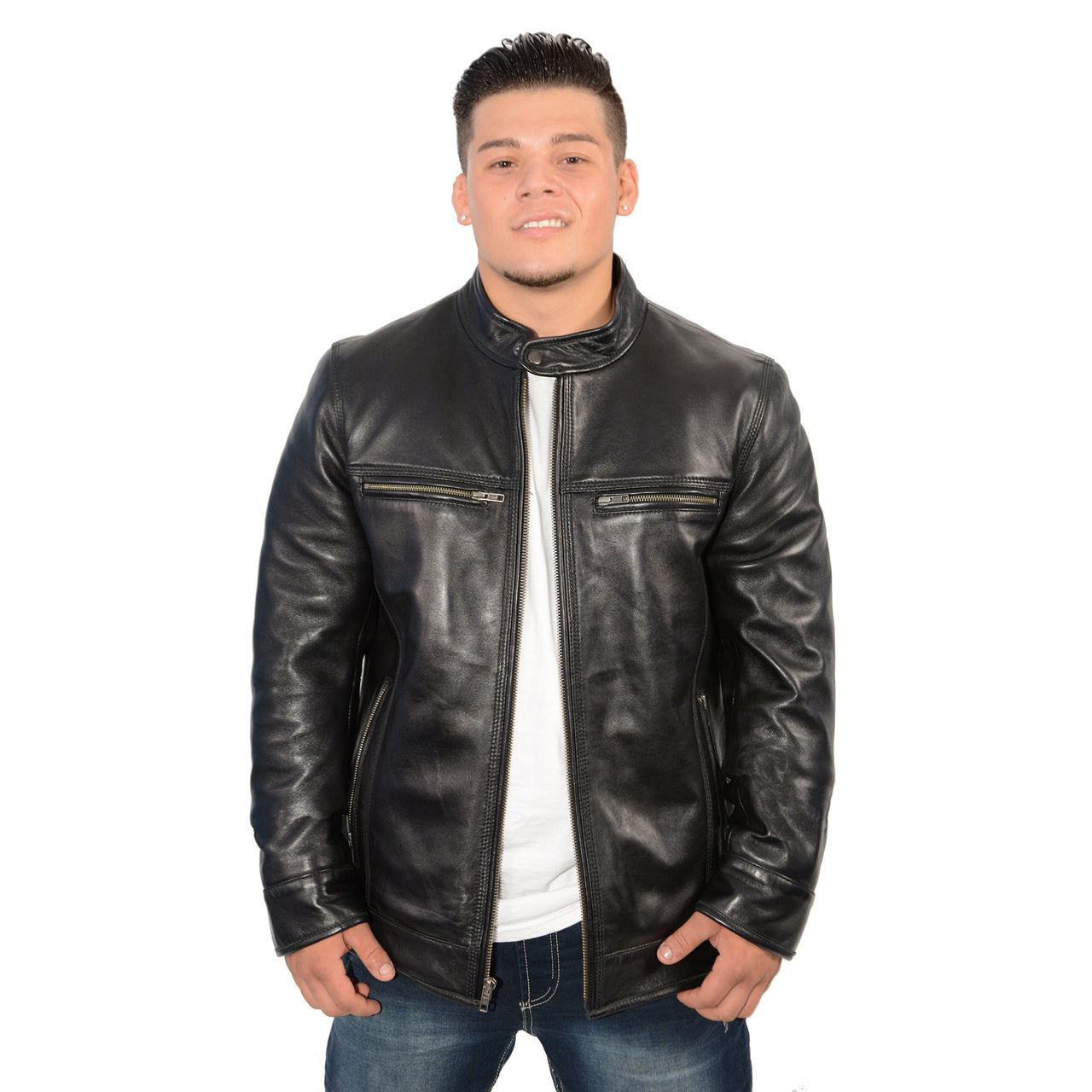 Men's stand up snap collar racer jacket with triple stitch accents. - HighwayLeather