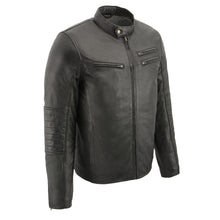 Men's euro collar café jacket w side stitch - HighwayLeather