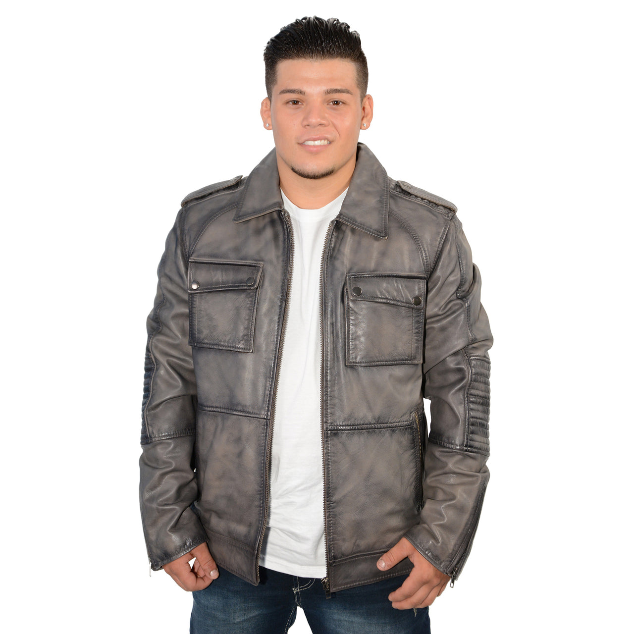 Men's 32 inch patch pocket jacket with shirt collar and padded elbows. - HighwayLeather