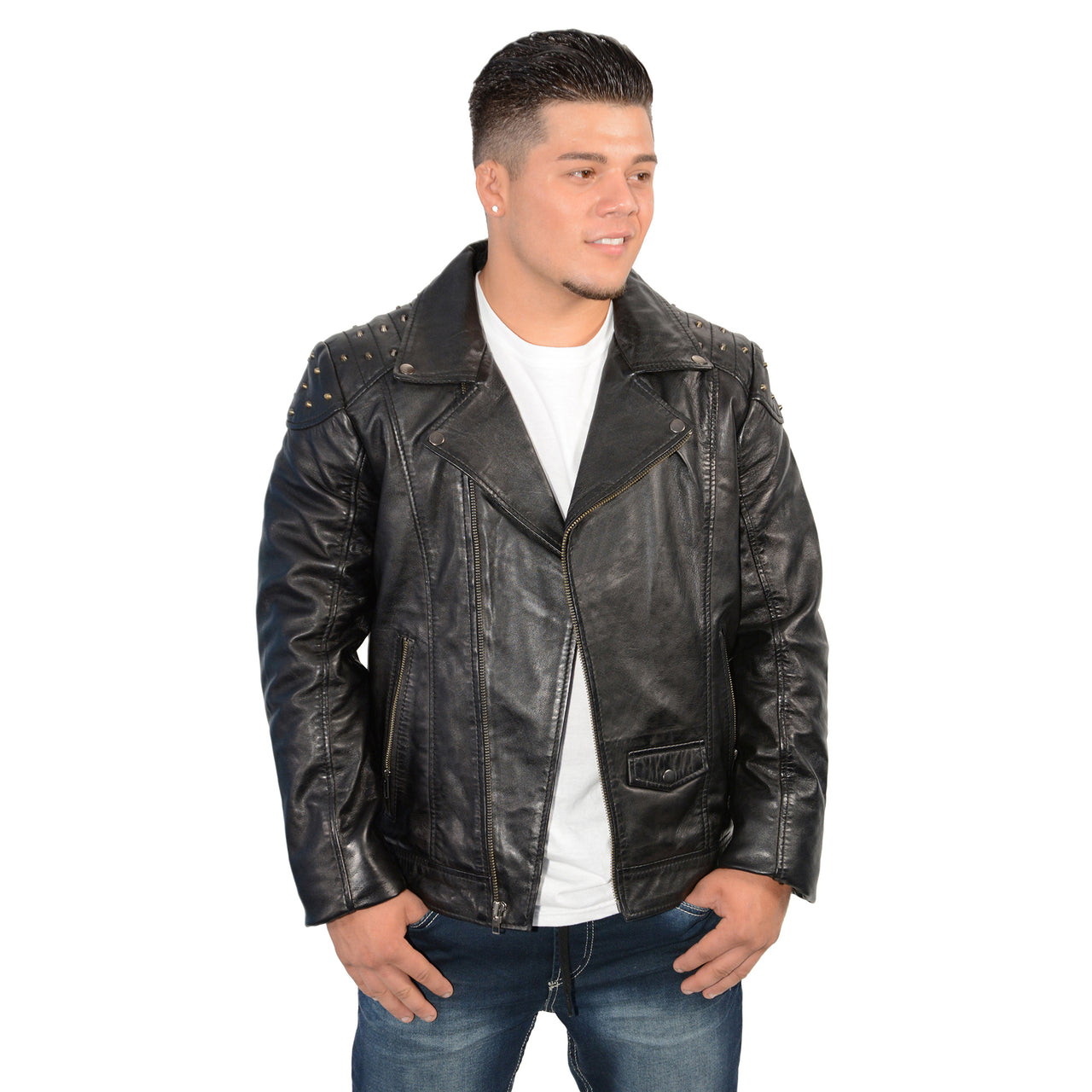 Men's m/c look jacket with shoulder studding - HighwayLeather