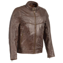 Men's Stand Up Collar Leather Jacket w/ Side Buckles & Lower Back Padding - HighwayLeather
