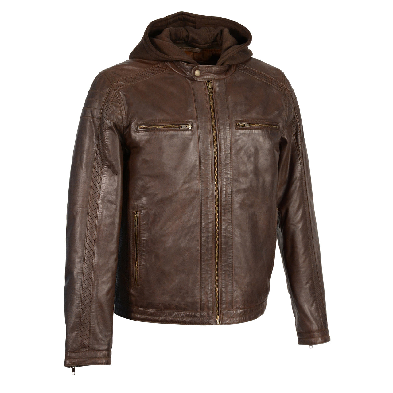 Men's Zipper Front Leather Jacket w/ Removable Hood - HighwayLeather