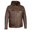 Men's Snap Collar Leather Moto Jacket w/ Removable Hood - HighwayLeather