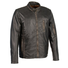 Men's Sheepskin Moto Racer Leather Jacket w/ Throat Latch - HighwayLeather
