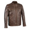 Men's Sheepskin Moto Leather Jacket w/ Zipper Front - HighwayLeather