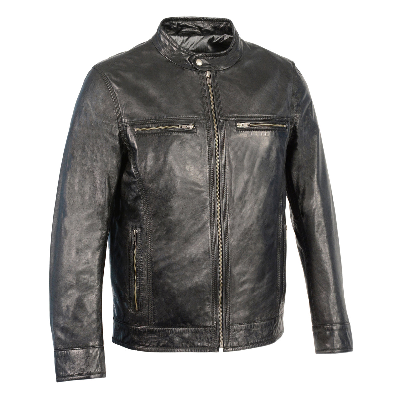 Men's Classic Moto Leather Jacket w/ Zipper Front - HighwayLeather