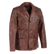 Men's Leather Car Coat Jacket w/ Button Front - HighwayLeather