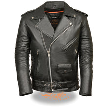 Men's Classic Side Lace Police Style M/C Jacket - HighwayLeather