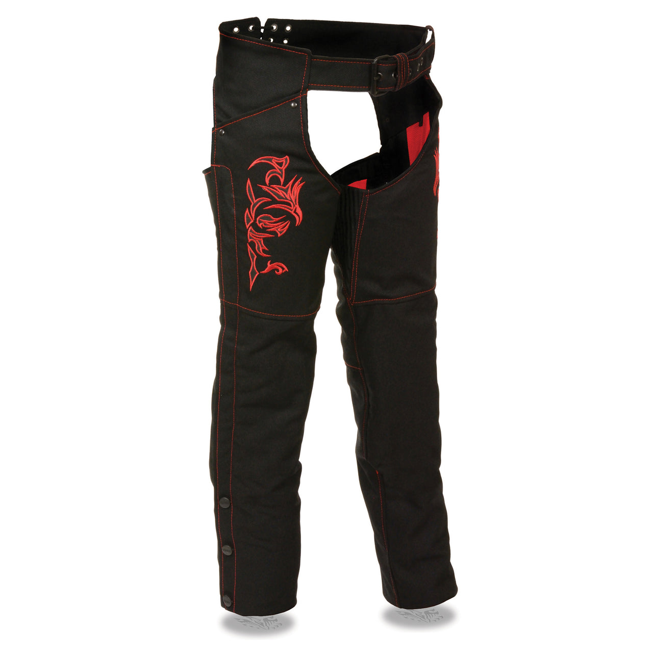 Women's Textile Chap w/ Tribal Embroidery & Reflective Detail - HighwayLeather