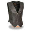 Ladies Zipper Front Side Stretch Vest - HighwayLeather
