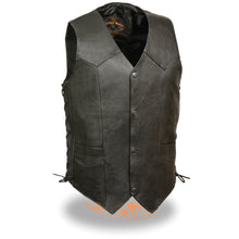 Men's Classic Side Lace Biker Vest - highwayleather
