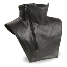 Unisex Premium Leather Neck Warmer w/ Zipper Closure, Fleece Liner - HighwayLeather