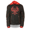 Ladies 3/4 Textile Jacket w/ Reflective Tribal Detail - HighwayLeather