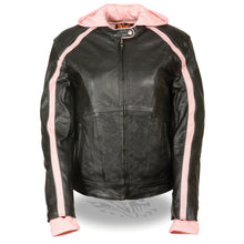 Ladies Striped Jacket w/ Zip-Out Hoodie - highwayleather