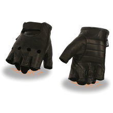 Men's Leather Fingerless Gloves w/ Gel Palm - HighwayLeather