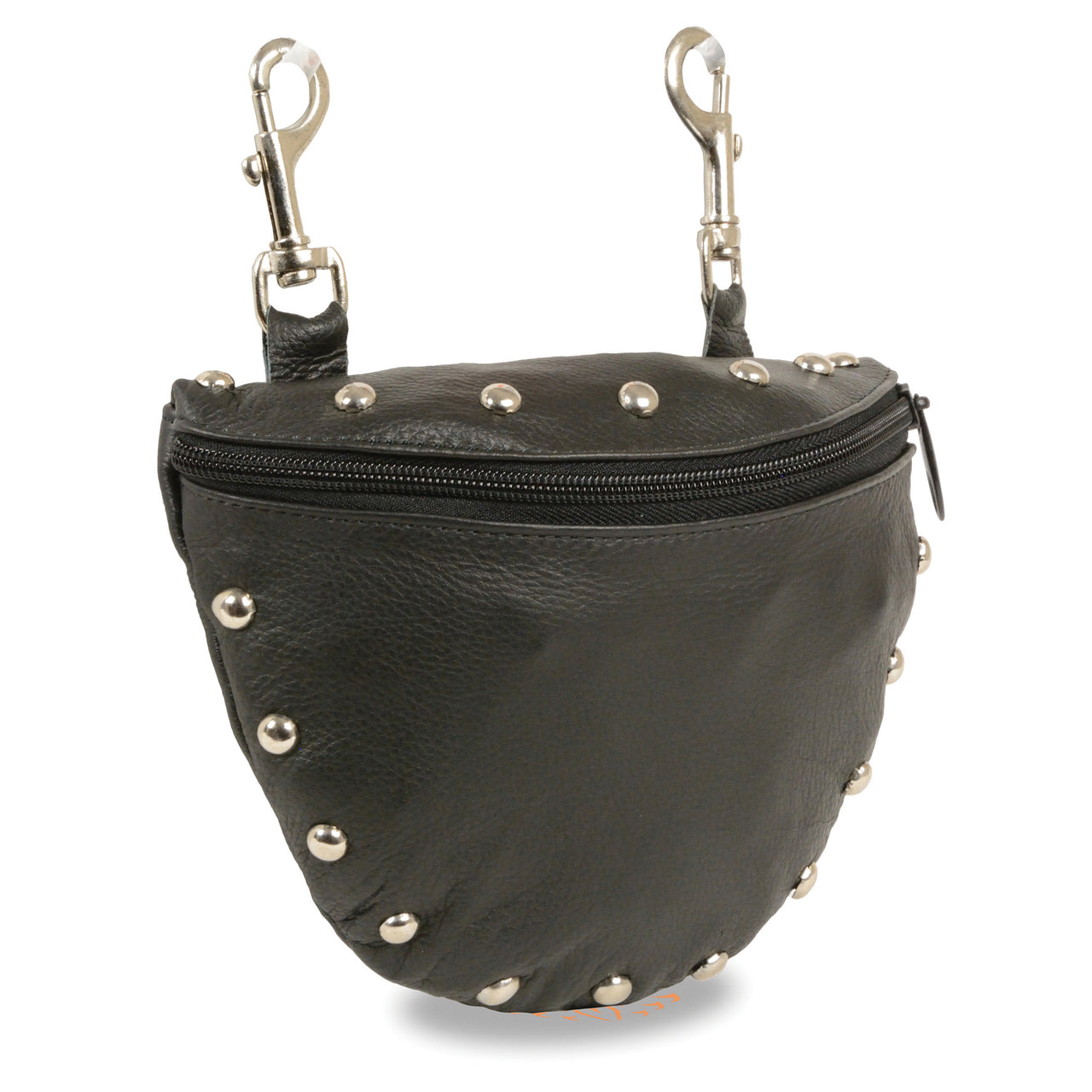 Leather Studded Zipper Close Belt Bag w/ Belt Clasps (8.5X5.5) - HighwayLeather
