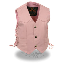 Kids Pink Basic Three Snap Vest - highwayleather