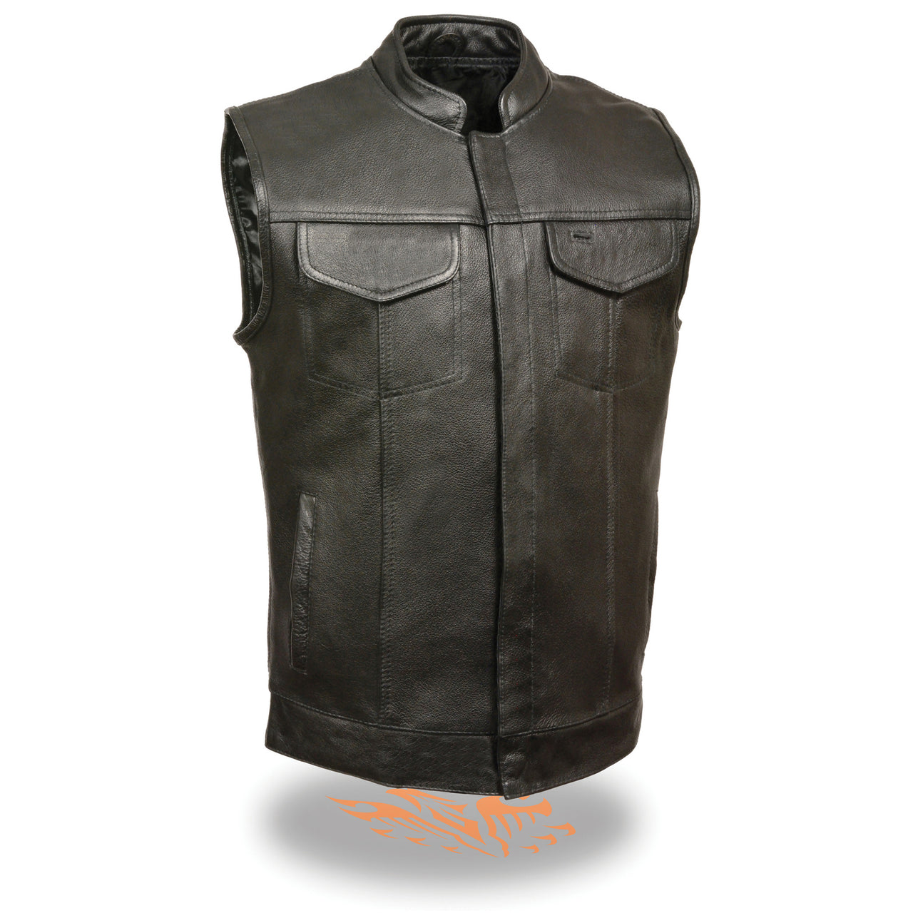 Men's Open Neck Club Vest w/ Hidden Snaps - HighwayLeather