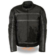 Men's Textile Racer Jacket w/ Reflective Stripes - HighwayLeather