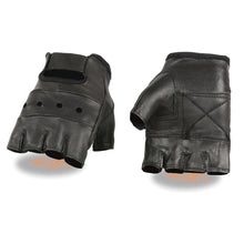 Men's Leather Fingerless Glove w/ Padded Palm - HighwayLeather
