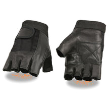 Men's Leather & Mesh Fingerless Glove w/ Padded Palm - HighwayLeather