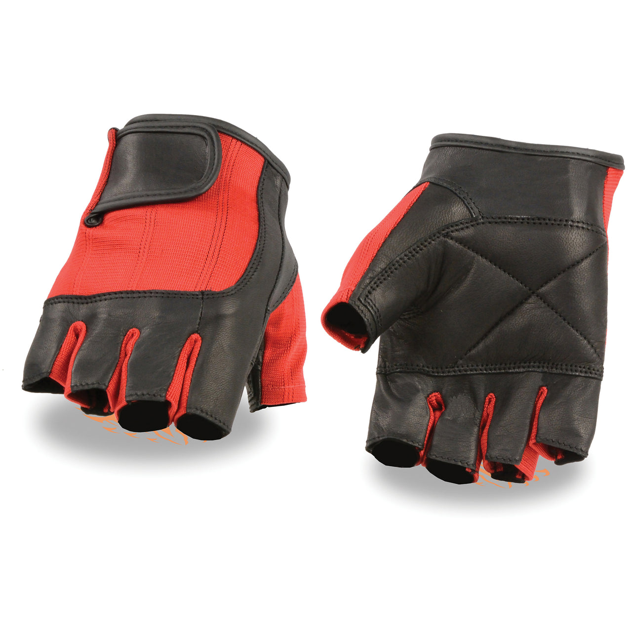 Men's leather Black/Red Spandex Fingerless Glove - HighwayLeather