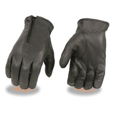 Men's Unlined Leather Gloves w/ Zipper Closure - HighwayLeather