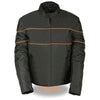 Men's Scooter Style Textile Jacket w/ Orange Stripes - HighwayLeather