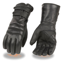 Men's Leather Gauntlet Gloves w/ Long Double Strap Cuff - HighwayLeather