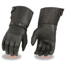 Men's Thermal Lined Leather Gauntlet Gloves w Snap Wrist & Cuff - HighwayLeather