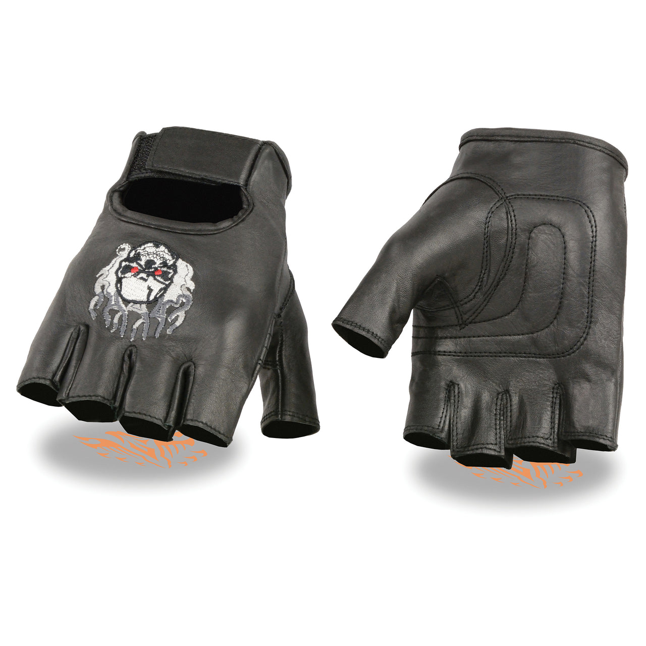 Men's Leather Fingerless Glove w/ Flaming Skull Embroidery - HighwayLeather