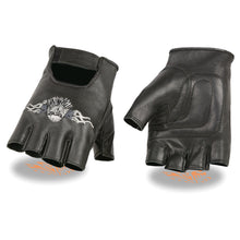 Men's Leather Fingerless Glove w/ Eagle Head Embroidery - HighwayLeather
