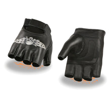 Men's Leather Fingerless Glove w/ Skull & Bones Embroidery - HighwayLeather
