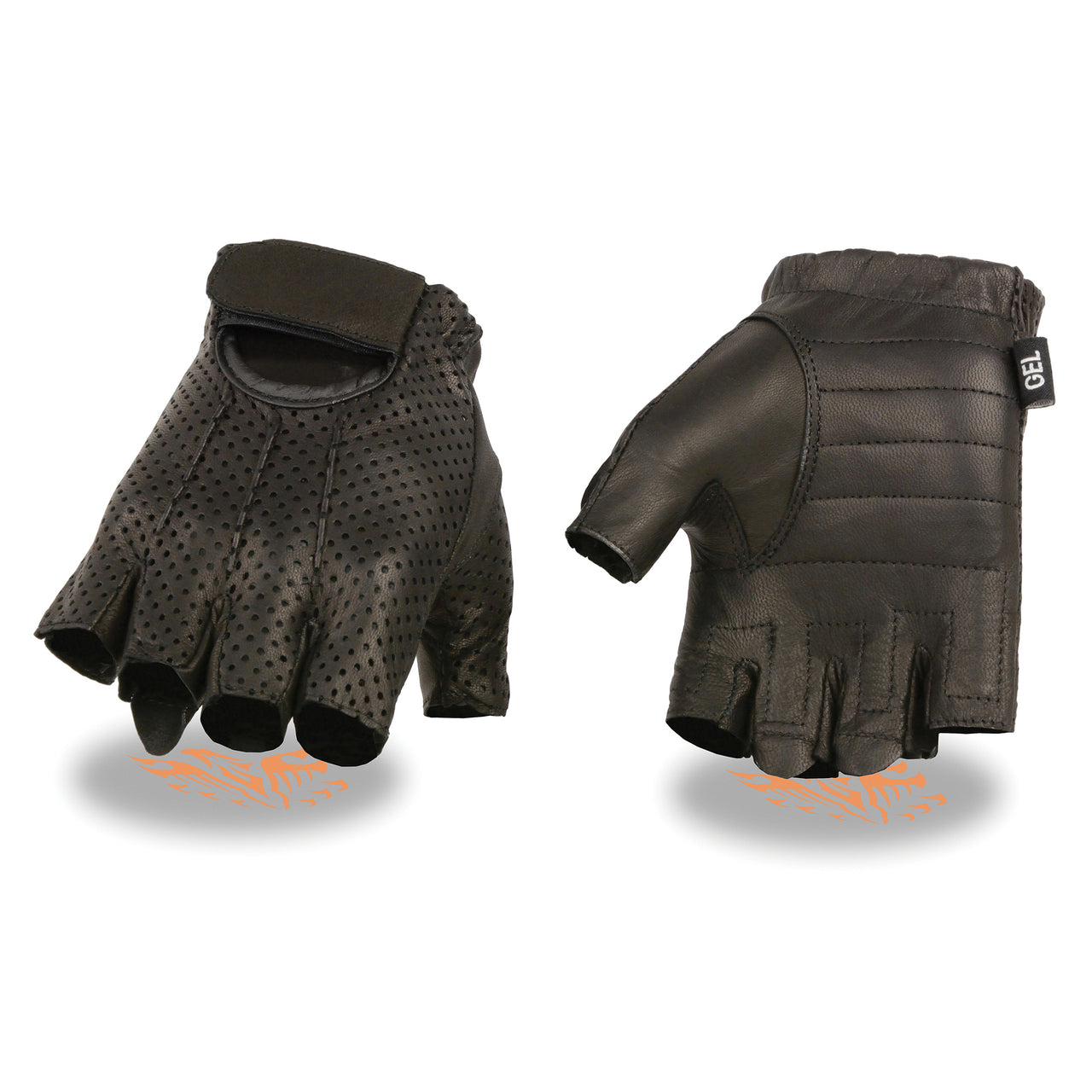Men's Perforated Fingerless Gloves w/ Gel Palm - HighwayLeather