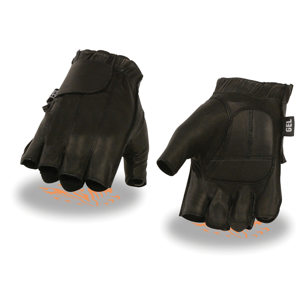 Men's Full Panel Fingerless Gloves w/ Gel Palm - HighwayLeather