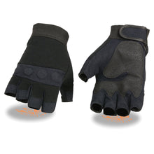 Men's Fingerless Mechanics Glove w/ Amara Bottom & Gel Palm - HighwayLeather