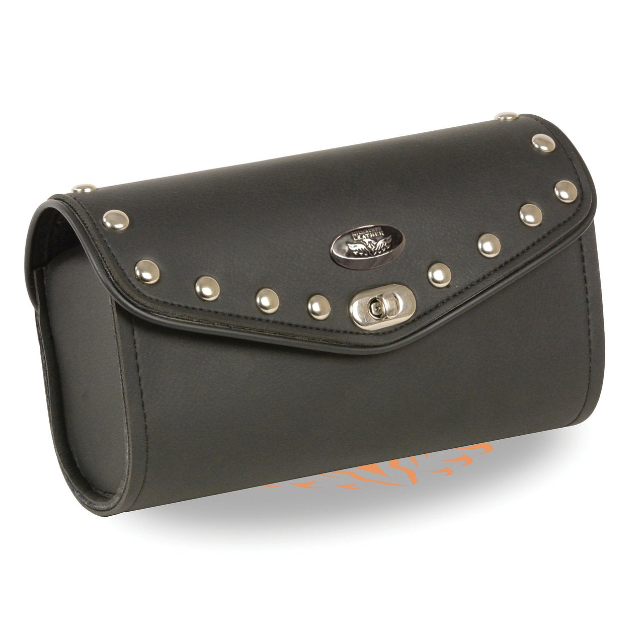 Large PVC Studded Winsheild Bag w/ Turn Clasp (10X4.5X3.25) - HighwayLeather