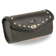 Large PVC Braid & Studded Winsheild Bag w/ Turn Clasp (10X4.5X3.25) - highwayleather