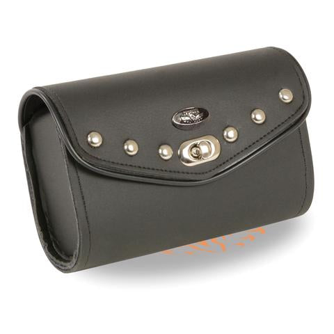 Small PVC Studded Windshield Bag w/ Quick Release (8X4X3) - HighwayLeather