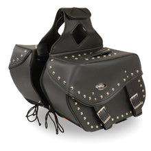 Large Zip-Off PVC Studded Throw Over Saddle Bag (15X12X7X22) - highwayleather