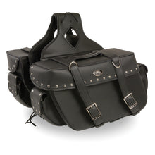 Large Zip-Off PVC Throw Over Riveted Saddle Bag (16X11X6X22) - HighwayLeather