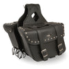 Large Zip-Off PVC Slanted Throw Over Studded Saddle Bag (15X12X5X22) - HighwayLeather