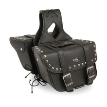 Medium Zip-Off PVC Slanted Throw Over Studded Saddle Bag(12X9X5X18) - highwayleather